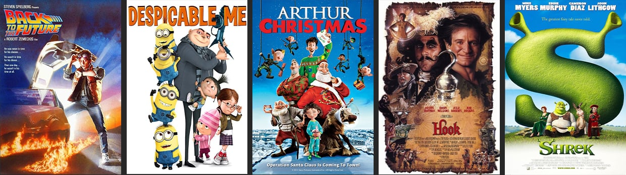 Movie posters for five family-friendly films